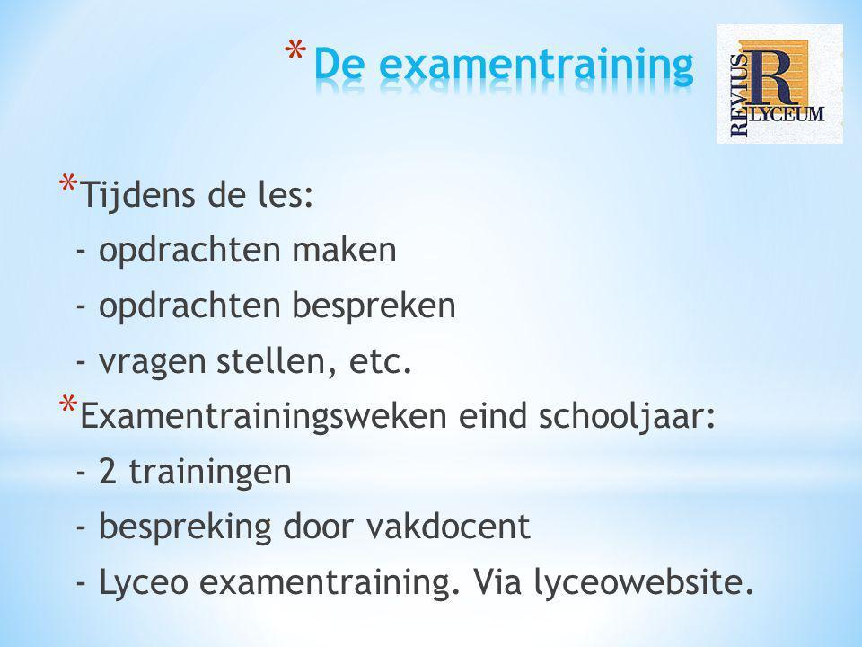 * Tijdens de les: - opdrachten maken - opdrachten bespreken - vragen stellen, etc. * Examentrainingsweken eind schooljaar: - 2 trainingen - bespreking
