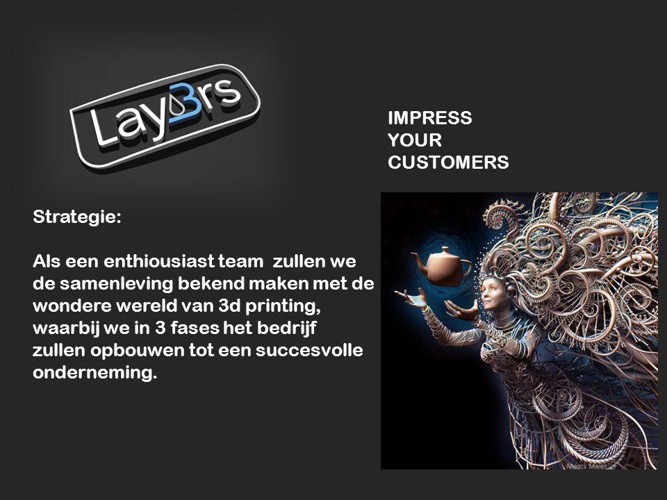 Strategie: Als een enthiousiast team zullen we de samenleving bekend maken met de wondere wereld van 3d printing, waarbij we in 3 fases het bedrijf zu
