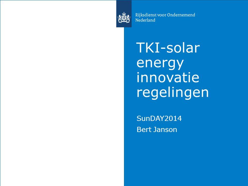 TKI-solar energy innovatie regelingen SunDAY2014 Bert Janson