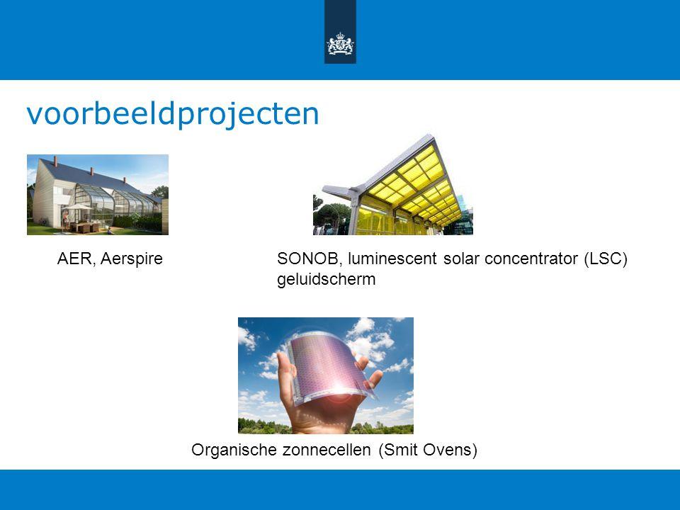 voorbeeldprojecten AER, AerspireSONOB, luminescent solar concentrator (LSC) geluidscherm Organische zonnecellen (Smit Ovens)