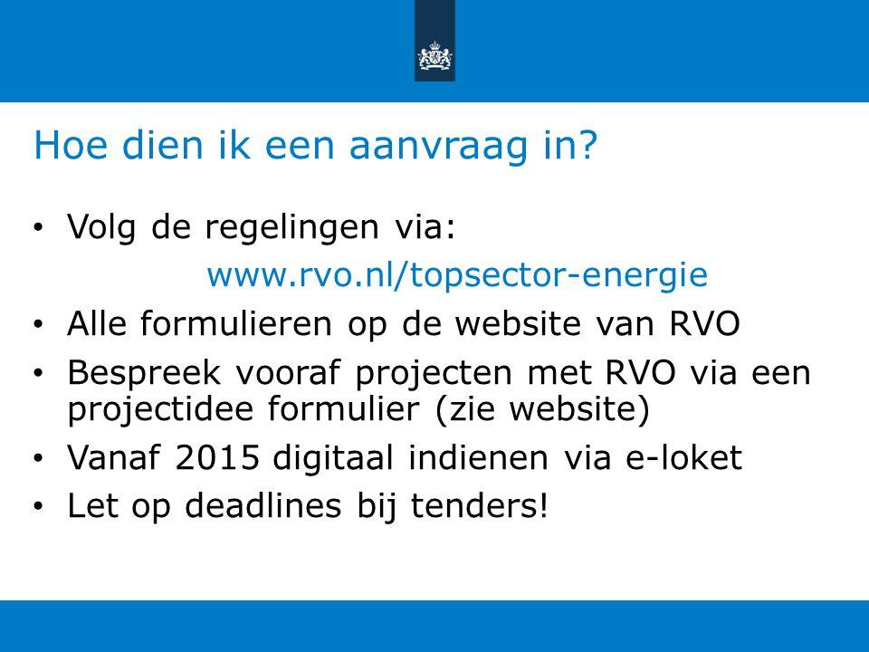 Hoe dien ik een aanvraag in? Volg de regelingen via: www.rvo.nl/topsector-energie Alle formulieren op de website van RVO Bespreek vooraf projecten met