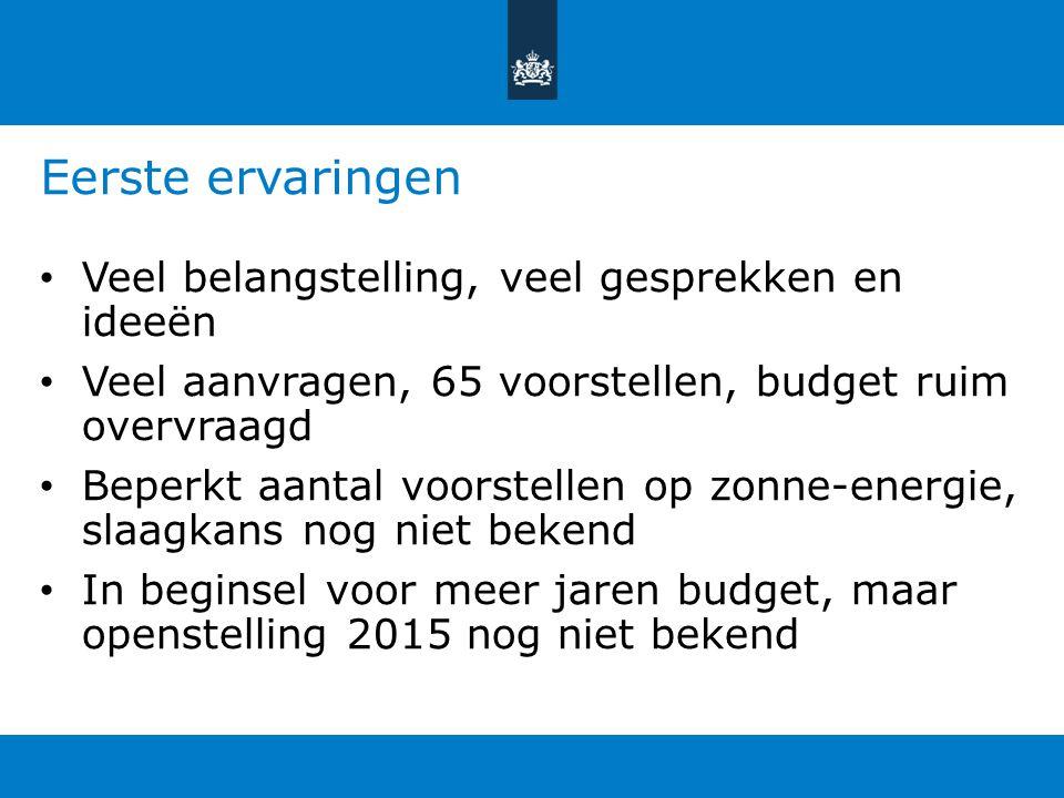 Eerste ervaringen Veel belangstelling, veel gesprekken en ideeën Veel aanvragen, 65 voorstellen, budget ruim overvraagd Beperkt aantal voorstellen op