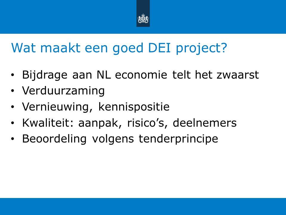 Wat maakt een goed DEI project? Bijdrage aan NL economie telt het zwaarst Verduurzaming Vernieuwing, kennispositie Kwaliteit: aanpak, risico's, deelne