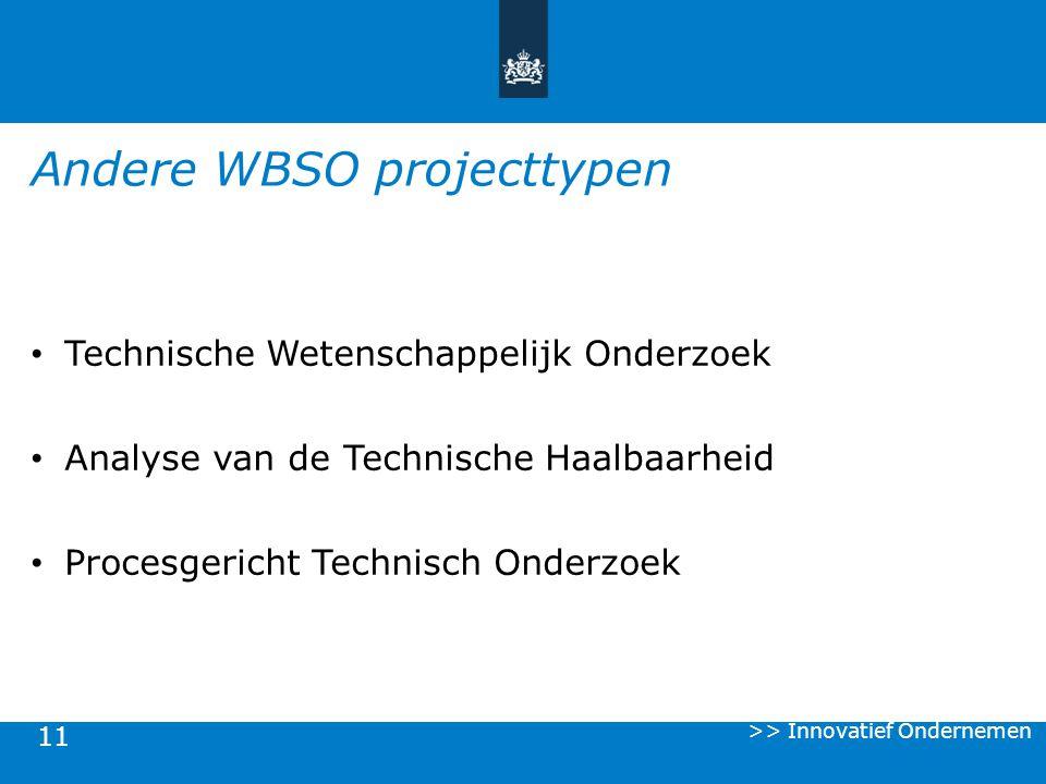11 Technische Wetenschappelijk Onderzoek Analyse van de Technische Haalbaarheid Procesgericht Technisch Onderzoek Andere WBSO projecttypen >> Innovati