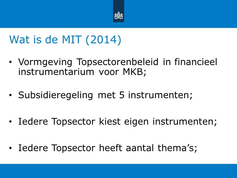 Wat is de MIT (2014) Vormgeving Topsectorenbeleid in financieel instrumentarium voor MKB; Subsidieregeling met 5 instrumenten; Iedere Topsector kiest
