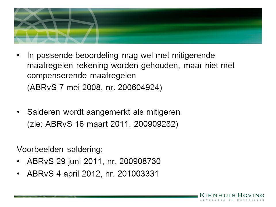 In passende beoordeling mag wel met mitigerende maatregelen rekening worden gehouden, maar niet met compenserende maatregelen (ABRvS 7 mei 2008, nr.