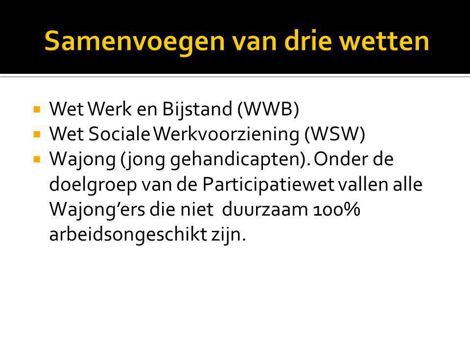  Wet Werk en Bijstand (WWB)  Wet Sociale Werkvoorziening (WSW)  Wajong (jong gehandicapten). Onder de doelgroep van de Participatiewet vallen alle