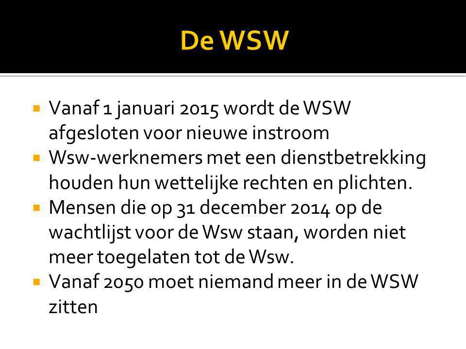  Vanaf 1 januari 2015 wordt de WSW afgesloten voor nieuwe instroom  Wsw-werknemers met een dienstbetrekking houden hun wettelijke rechten en plichte