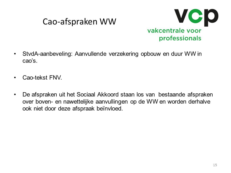 Cao-afspraken WW StvdA-aanbeveling: Aanvullende verzekering opbouw en duur WW in cao's. Cao-tekst FNV. De afspraken uit het Sociaal Akkoord staan los