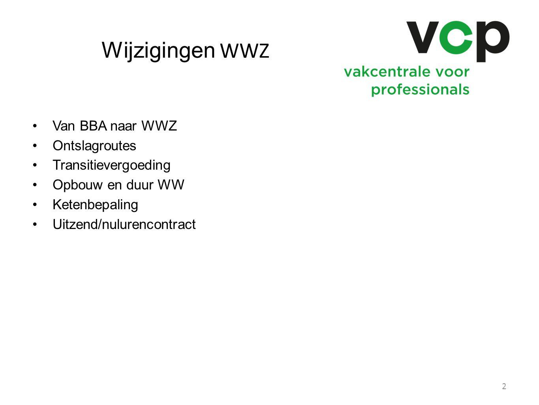 Wijzigingen WWZ Van BBA naar WWZ Ontslagroutes Transitievergoeding Opbouw en duur WW Ketenbepaling Uitzend/nulurencontract 2