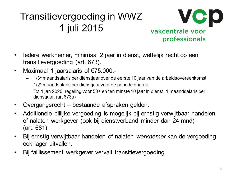 Transitievergoeding in WWZ 1 juli 2015 Iedere werknemer, minimaal 2 jaar in dienst, wettelijk recht op een transitievergoeding (art. 673). Maximaal 1