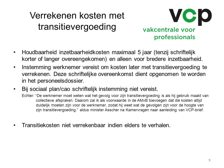 Verrekenen kosten met transitievergoeding Houdbaarheid inzetbaarheidkosten maximaal 5 jaar (tenzij schriftelijk korter of langer overeengekomen) en al