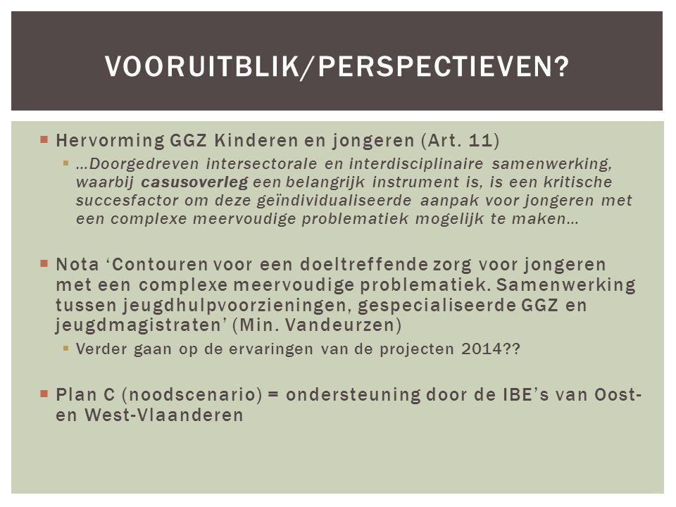  Hervorming GGZ Kinderen en jongeren (Art. 11)  …Doorgedreven intersectorale en interdisciplinaire samenwerking, waarbij casusoverleg een belangrijk