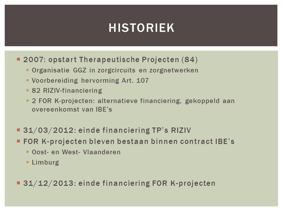  2007: opstart Therapeutische Projecten (84)  Organisatie GGZ in zorgcircuits en zorgnetwerken  Voorbereiding hervorming Art. 107  82 RIZIV-financ