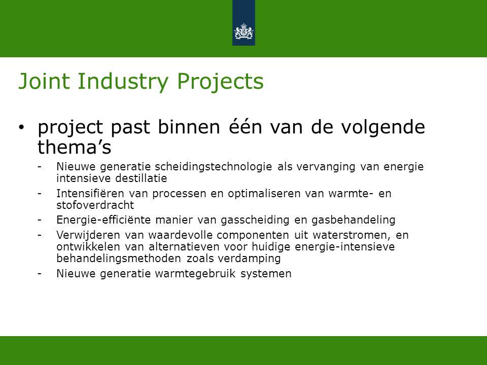 Criteria Bijdrage verduurzaming (Energiebesparing) Bijdrage NL economie Innovatie Kwaliteit, inclusief kennisverspreiding
