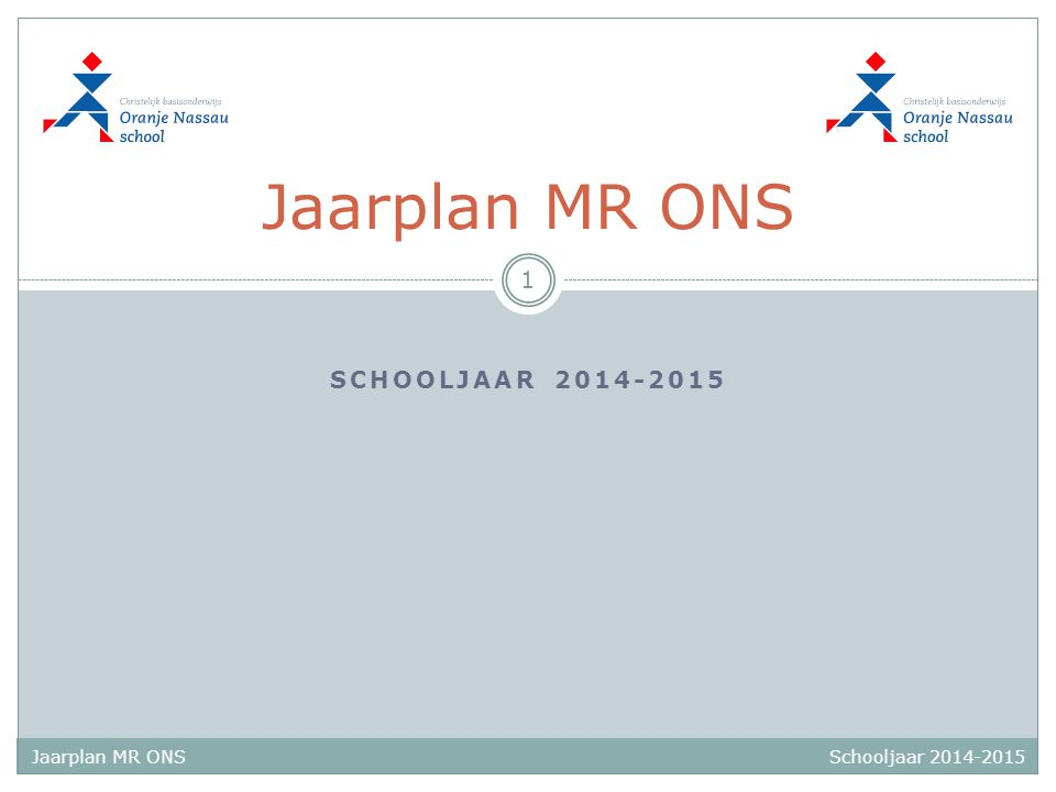 Schooljaar 2014-2015 Jaarplan MR ONS SCHOOLJAAR 2014-2015 Jaarplan MR ONS 1