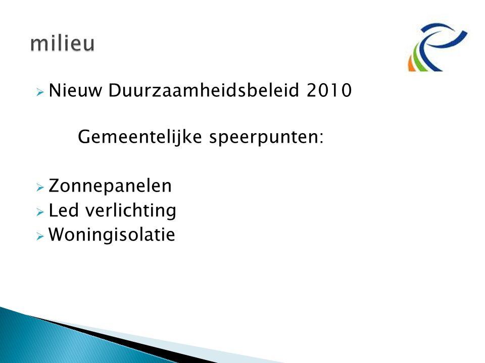  Nieuw Duurzaamheidsbeleid 2010 Gemeentelijke speerpunten:  Zonnepanelen  Led verlichting  Woningisolatie
