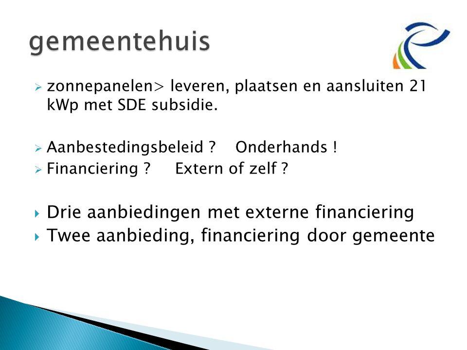  zonnepanelen> leveren, plaatsen en aansluiten 21 kWp met SDE subsidie.  Aanbestedingsbeleid ? Onderhands !  Financiering ? Extern of zelf ?  Drie