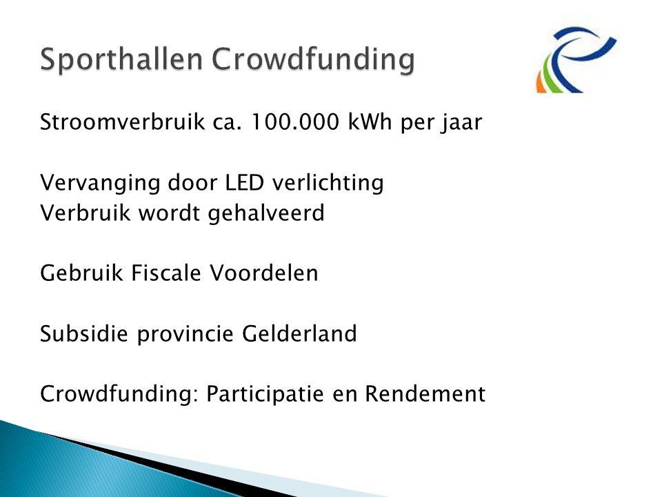 Stroomverbruik ca. 100.000 kWh per jaar Vervanging door LED verlichting Verbruik wordt gehalveerd Gebruik Fiscale Voordelen Subsidie provincie Gelderl