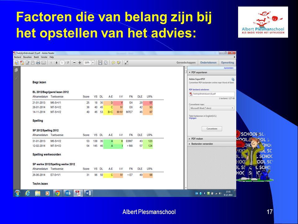 Albert Plesmanschool17 Factoren die van belang zijn bij het opstellen van het advies: