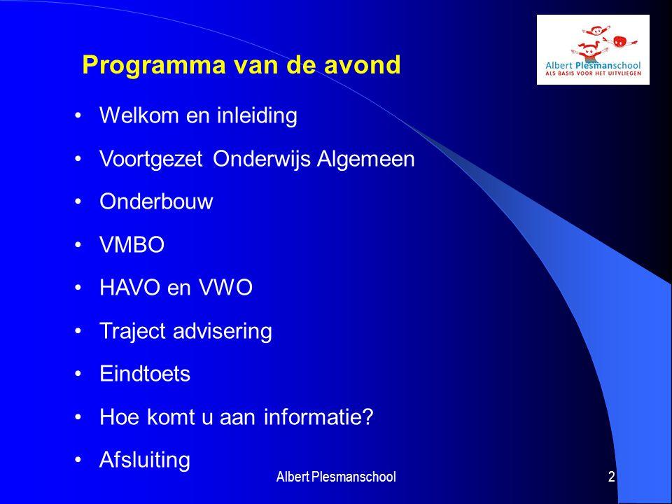 2 Programma van de avond Welkom en inleiding Voortgezet Onderwijs Algemeen Onderbouw VMBO HAVO en VWO Traject advisering Eindtoets Hoe komt u aan info