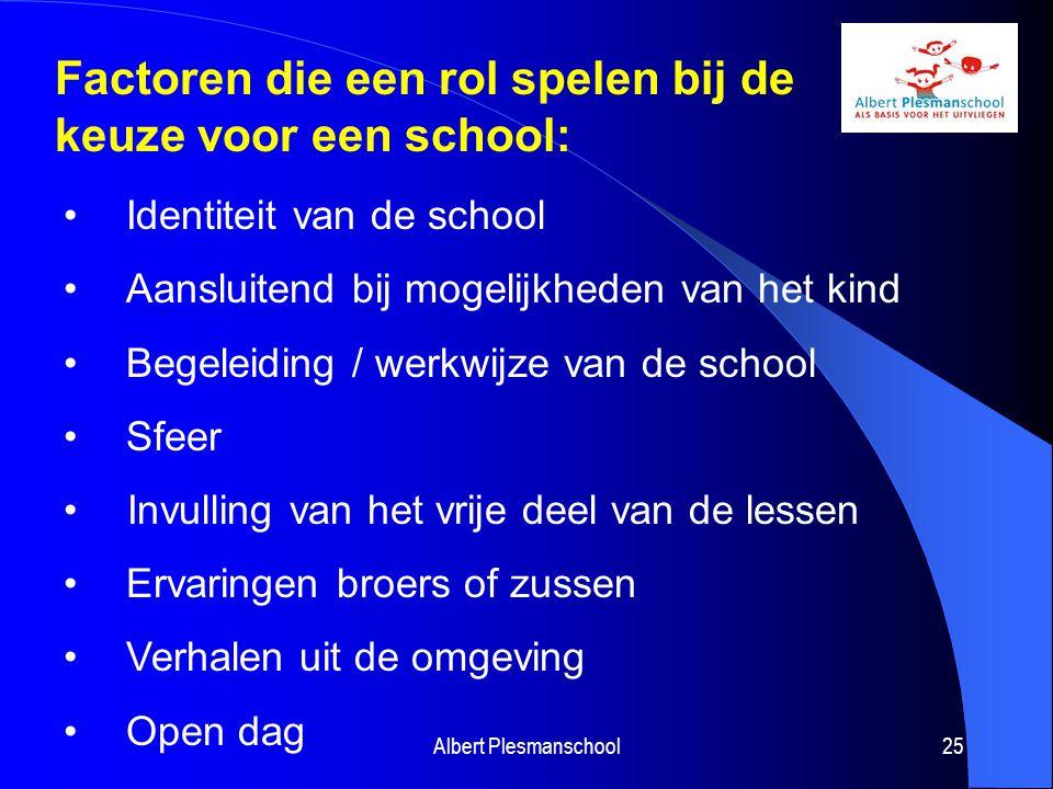Albert Plesmanschool25 Factoren die een rol spelen bij de keuze voor een school: Identiteit van de school Aansluitend bij mogelijkheden van het kind B