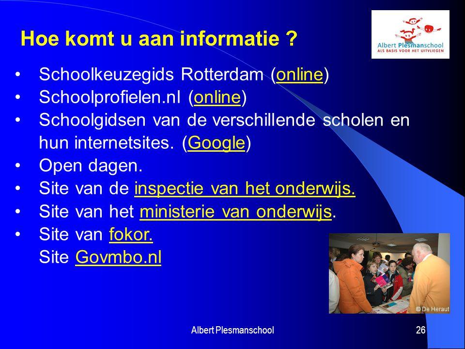 Schoolkeuzegids Rotterdam (online)online Schoolprofielen.nl (online)online Schoolgidsen van de verschillende scholen en hun internetsites. (Google)Goo