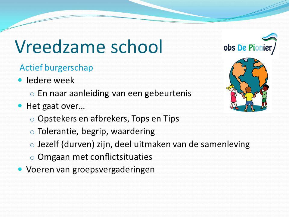 Vreedzame school Actief burgerschap Iedere week o En naar aanleiding van een gebeurtenis Het gaat over… o Opstekers en afbrekers, Tops en Tips o Toler