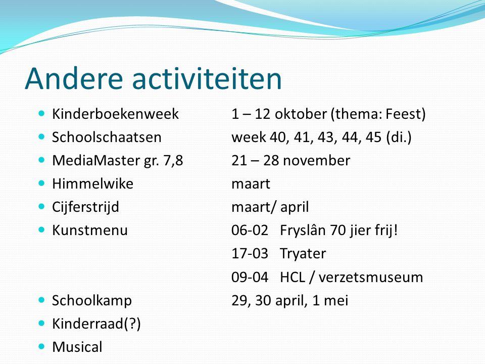 Andere activiteiten Kinderboekenweek 1 – 12 oktober (thema: Feest) Schoolschaatsen week 40, 41, 43, 44, 45 (di.) MediaMaster gr. 7,8 21 – 28 november