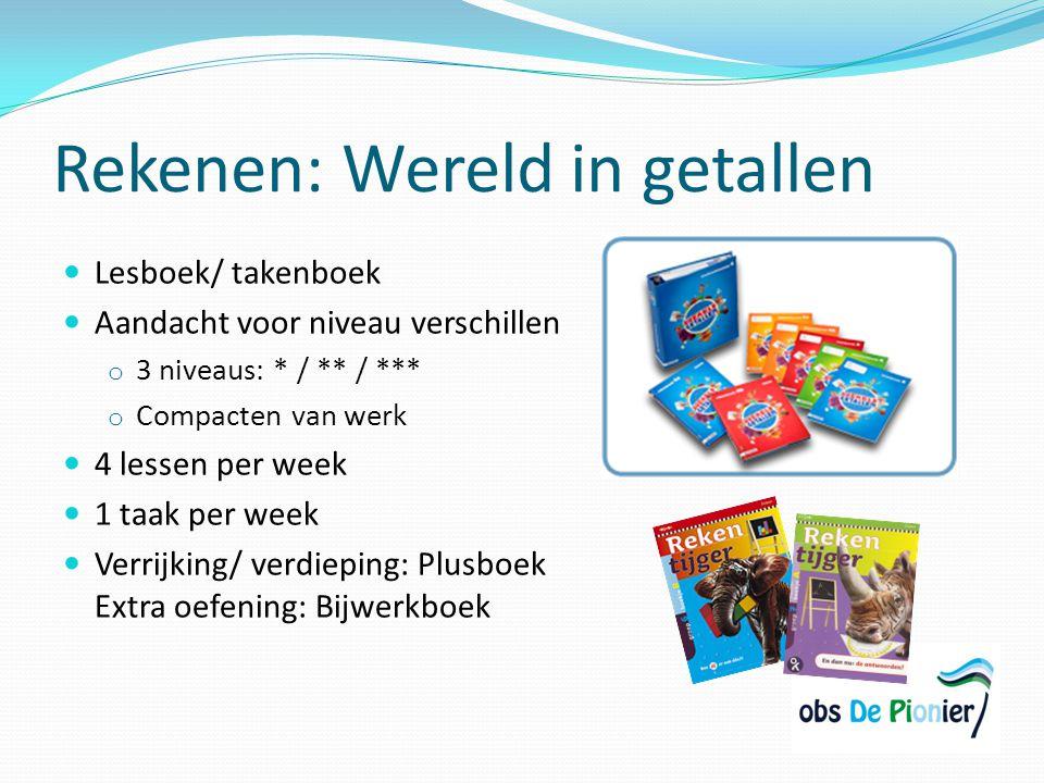Rekenen: Wereld in getallen Lesboek/ takenboek Aandacht voor niveau verschillen o 3 niveaus: * / ** / *** o Compacten van werk 4 lessen per week 1 taa