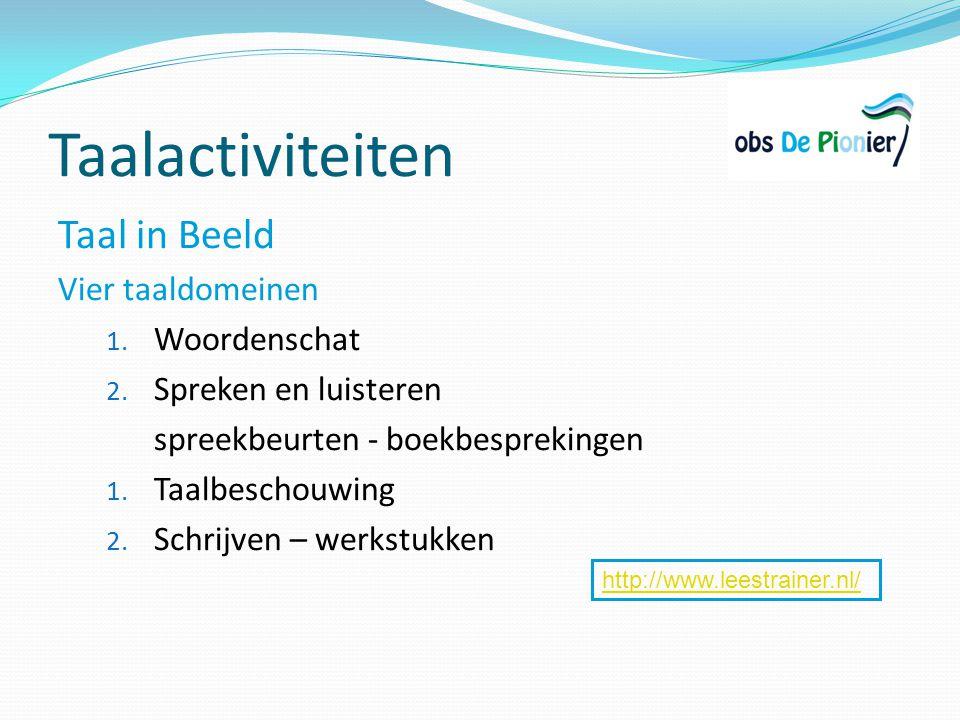 Taalactiviteiten Taal in Beeld Vier taaldomeinen 1. Woordenschat 2. Spreken en luisteren spreekbeurten - boekbesprekingen 1. Taalbeschouwing 2. Schrij