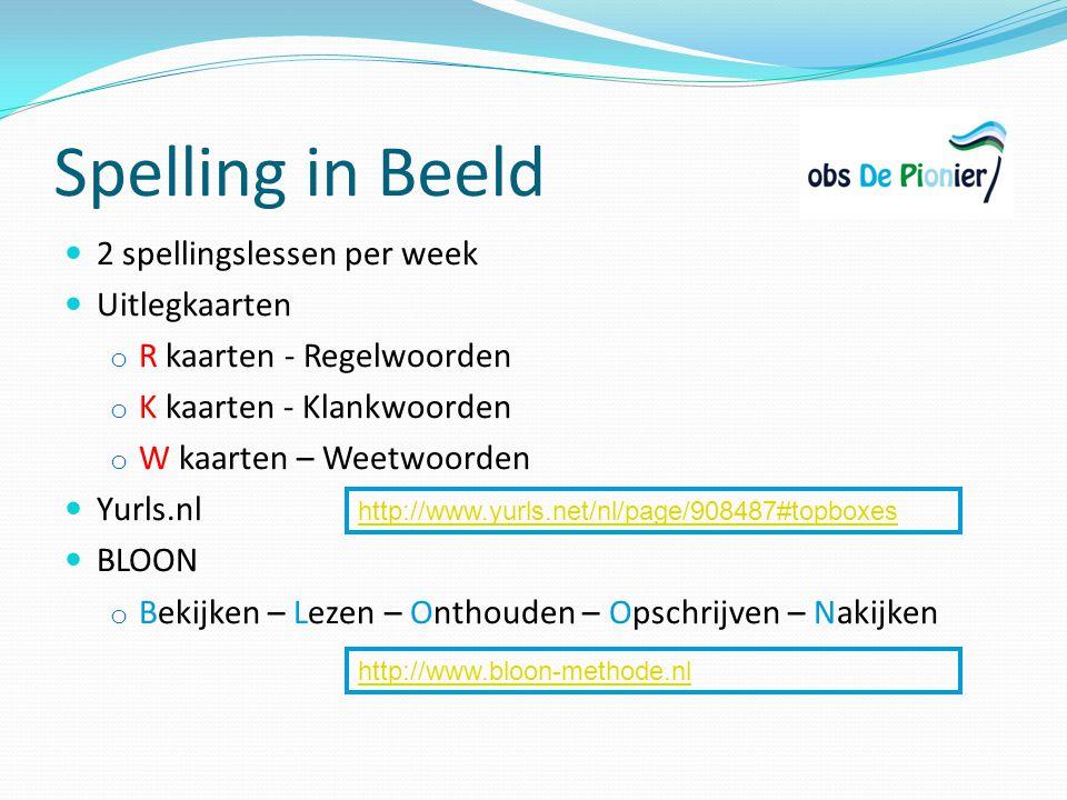 Spelling in Beeld 2 spellingslessen per week Uitlegkaarten o R kaarten - Regelwoorden o K kaarten - Klankwoorden o W kaarten – Weetwoorden Yurls.nl BL