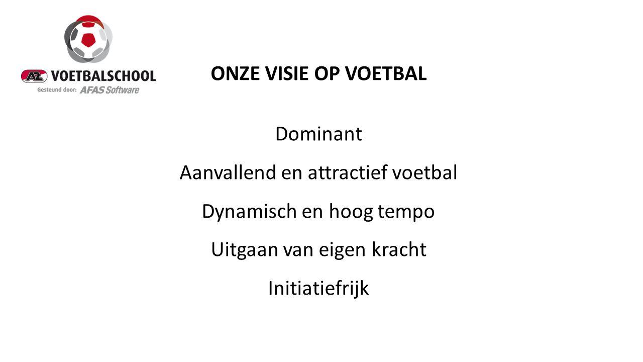 ONZE VISIE OP VOETBAL Dominant Aanvallend en attractief voetbal Dynamisch en hoog tempo Uitgaan van eigen kracht Initiatiefrijk