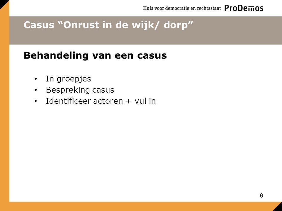 """Casus """"Onrust in de wijk/ dorp"""" Behandeling van een casus In groepjes Bespreking casus Identificeer actoren + vul in 6"""