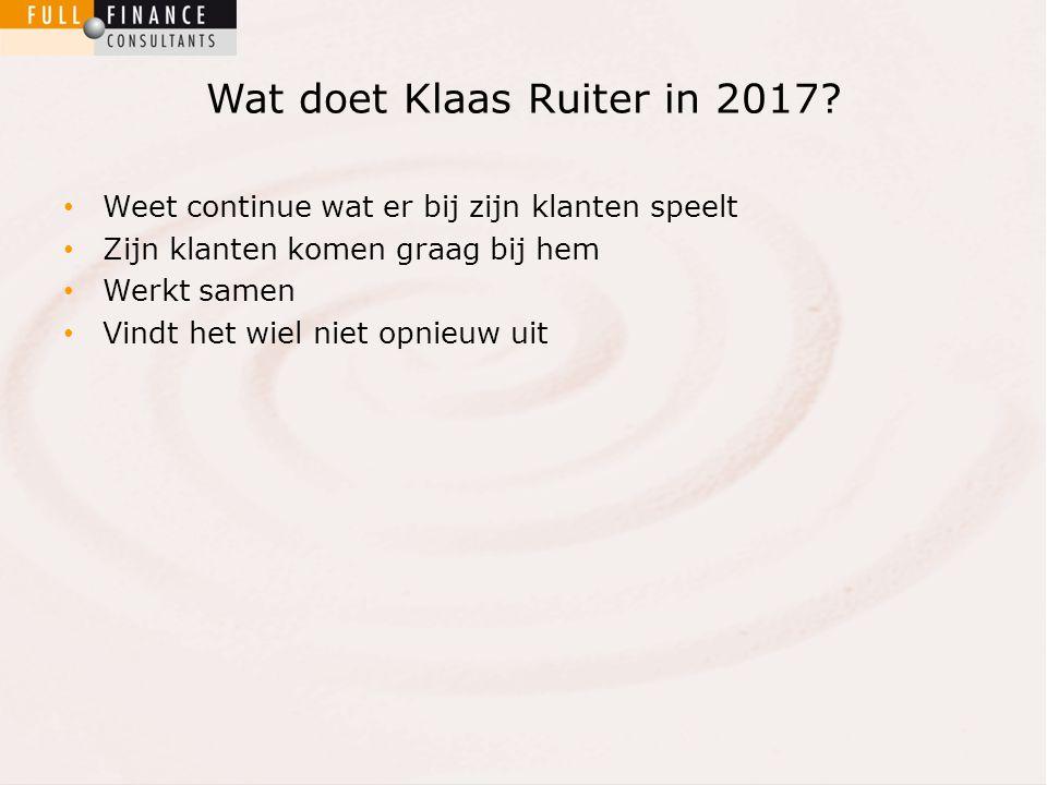 Wat doet Klaas Ruiter in 2017.