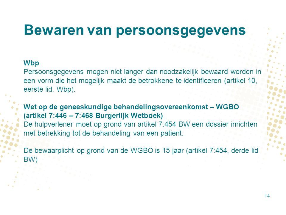 Bewaren van persoonsgegevens Wbp Persoonsgegevens mogen niet langer dan noodzakelijk bewaard worden in een vorm die het mogelijk maakt de betrokkene t