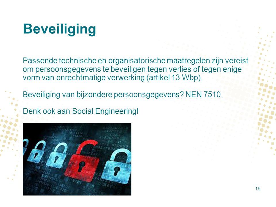 Beveiliging Passende technische en organisatorische maatregelen zijn vereist om persoonsgegevens te beveiligen tegen verlies of tegen enige vorm van o
