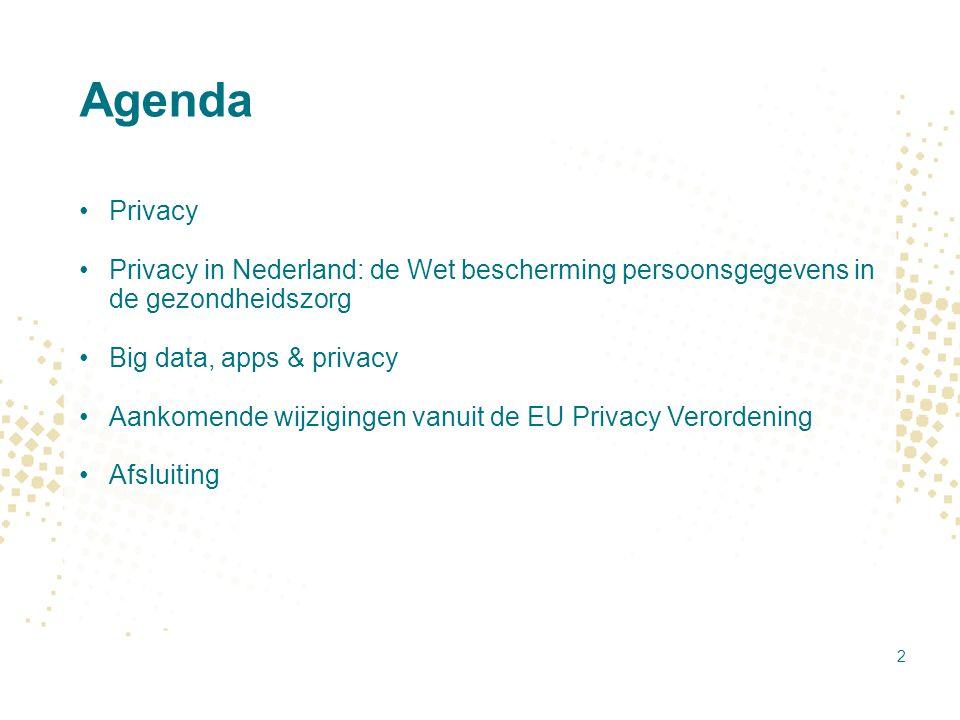 Agenda Privacy Privacy in Nederland: de Wet bescherming persoonsgegevens in de gezondheidszorg Big data, apps & privacy Aankomende wijzigingen vanuit
