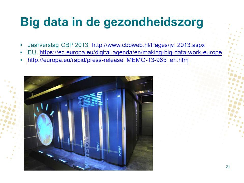 Big data in de gezondheidszorg Jaarverslag CBP 2013: http://www.cbpweb.nl/Pages/jv_2013.aspxhttp://www.cbpweb.nl/Pages/jv_2013.aspx EU: https://ec.eur