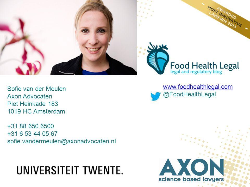 Sofie van der Meulen Axon Advocaten Piet Heinkade 183 1019 HC Amsterdam +31 88 650 6500 +31 6 53 44 05 67 sofie.vandermeulen@axonadvocaten.nl www.food