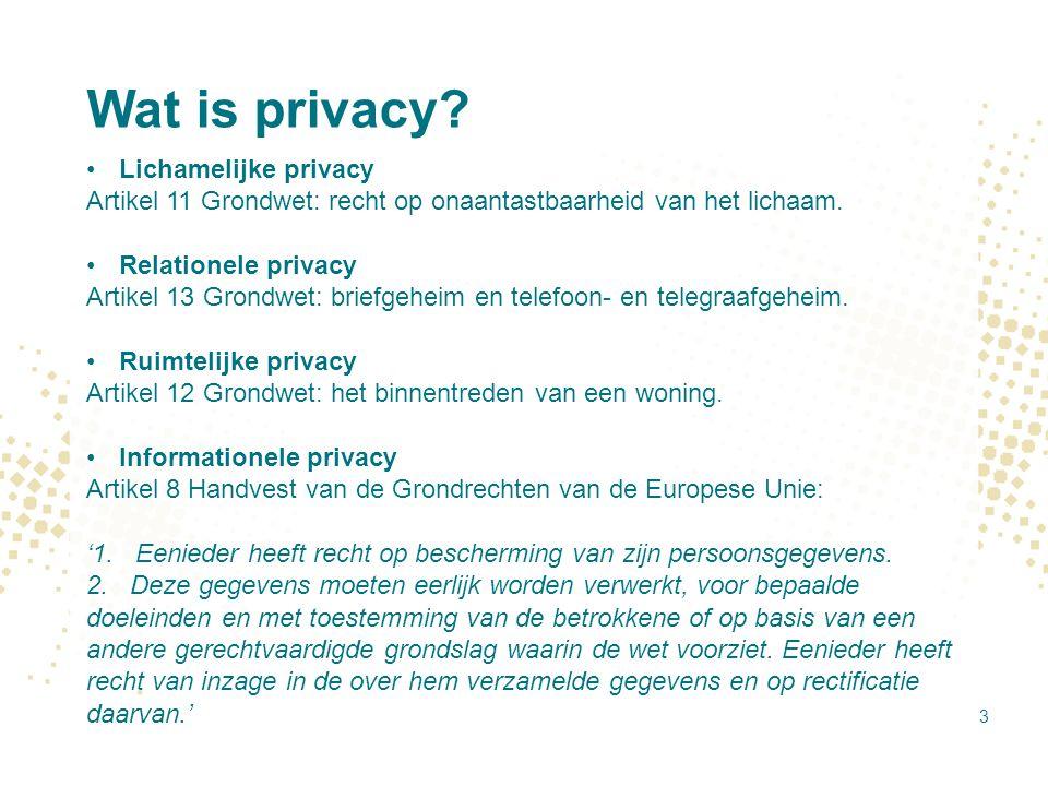 Wat is privacy? Lichamelijke privacy Artikel 11 Grondwet: recht op onaantastbaarheid van het lichaam. Relationele privacy Artikel 13 Grondwet: briefge