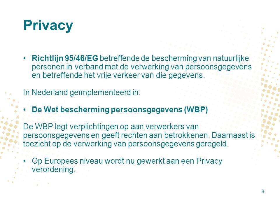 Privacy – OECD principles in de Wbp 1.Limitering van het verzamelen van gegevens (niet meer dan nodig).
