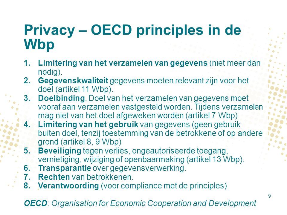Privacy – OECD principles in de Wbp 1.Limitering van het verzamelen van gegevens (niet meer dan nodig). 2.Gegevenskwaliteit gegevens moeten relevant z