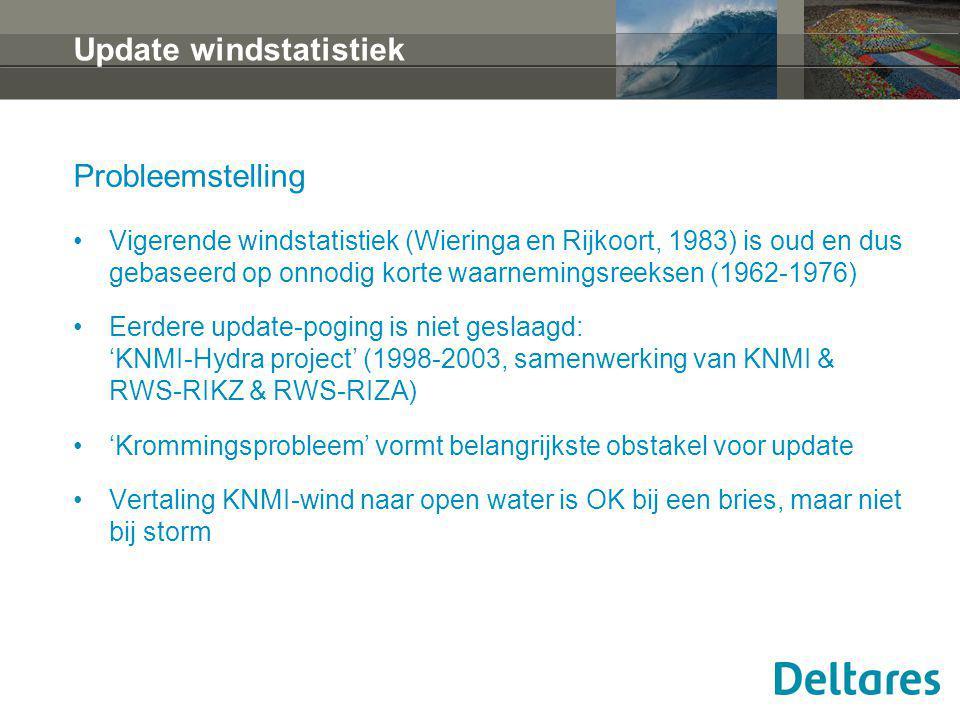 Update windstatistiek Probleemstelling Vigerende windstatistiek (Wieringa en Rijkoort, 1983) is oud en dus gebaseerd op onnodig korte waarnemingsreeks