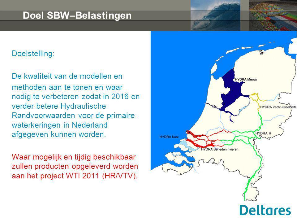 Doel SBW–Belastingen Doelstelling: De kwaliteit van de modellen en methoden aan te tonen en waar nodig te verbeteren zodat in 2016 en verder betere Hydraulische Randvoorwaarden voor de primaire waterkeringen in Nederland afgegeven kunnen worden.