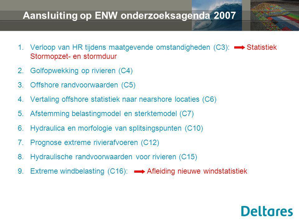Aansluiting op ENW onderzoeksagenda 2007 1.Verloop van HR tijdens maatgevende omstandigheden (C3): Statistiek Stormopzet- en stormduur 2.Golfopwekking