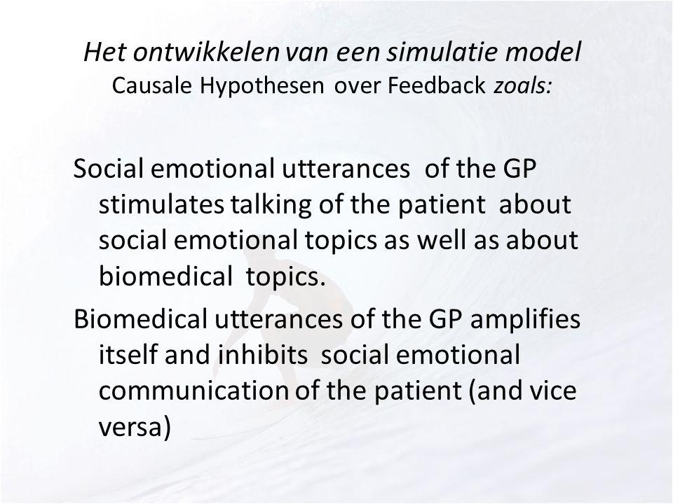 Het ontwikkelen van een simulatie model Causale Hypothesen over Feedback zoals: Social emotional utterances of the GP stimulates talking of the patien