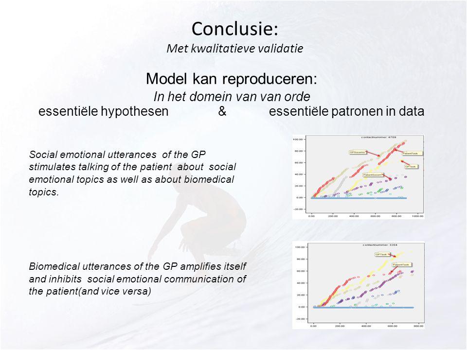 Conclusie: Met kwalitatieve validatie Model kan reproduceren: In het domein van van orde essentiële hypothesen & essentiële patronen in data Social emotional utterances of the GP stimulates talking of the patient about social emotional topics as well as about biomedical topics.