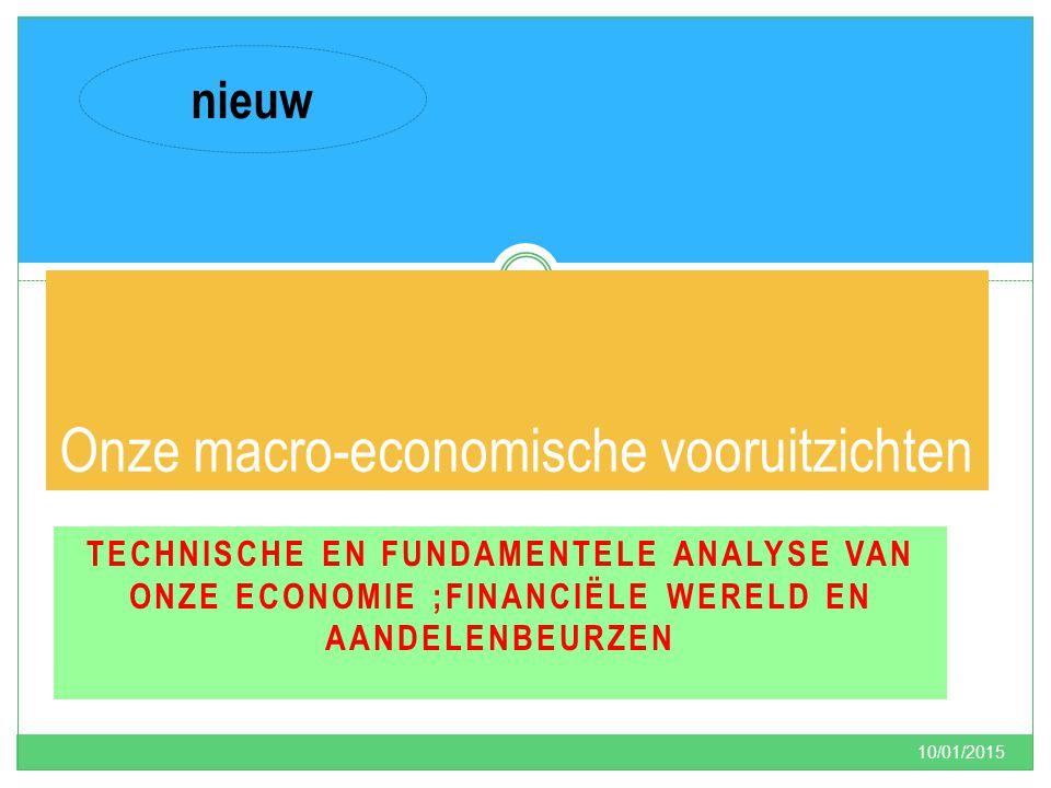 TECHNISCHE EN FUNDAMENTELE ANALYSE VAN ONZE ECONOMIE ;FINANCIËLE WERELD EN AANDELENBEURZEN 10/01/2015 4 Onze macro-economische vooruitzichten nieuw