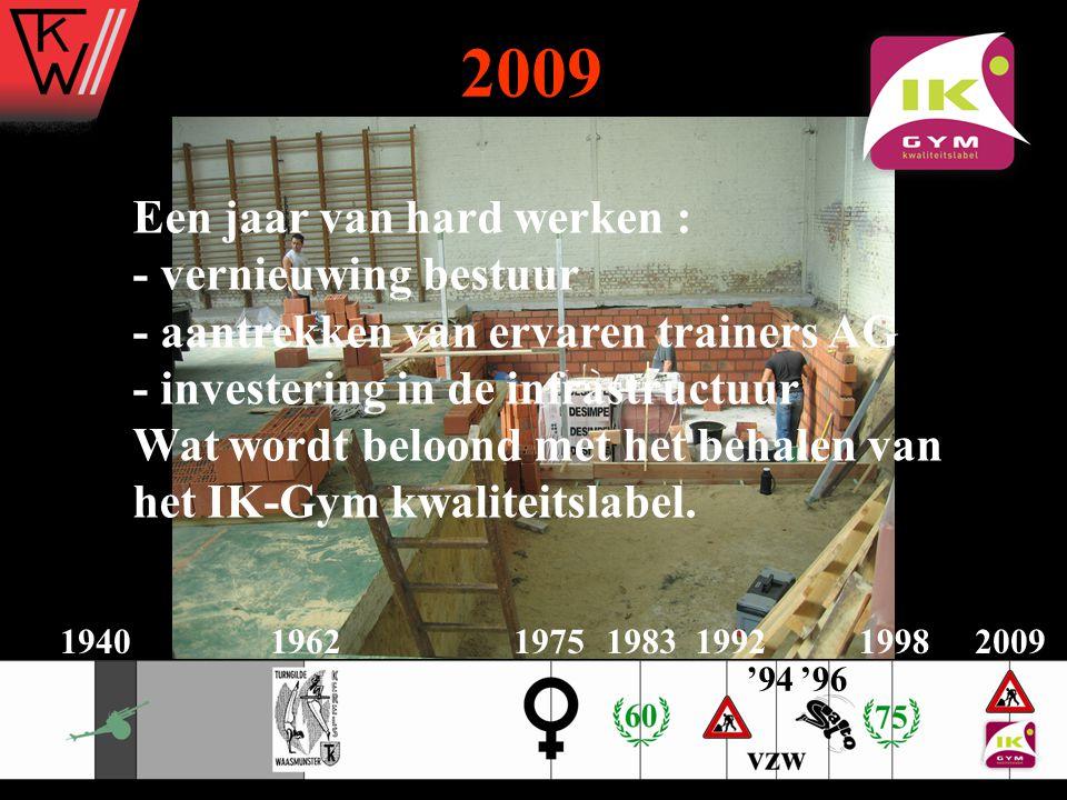 2009 Een jaar van hard werken : - vernieuwing bestuur - aantrekken van ervaren trainers AG - investering in de infrastructuur Wat wordt beloond met he